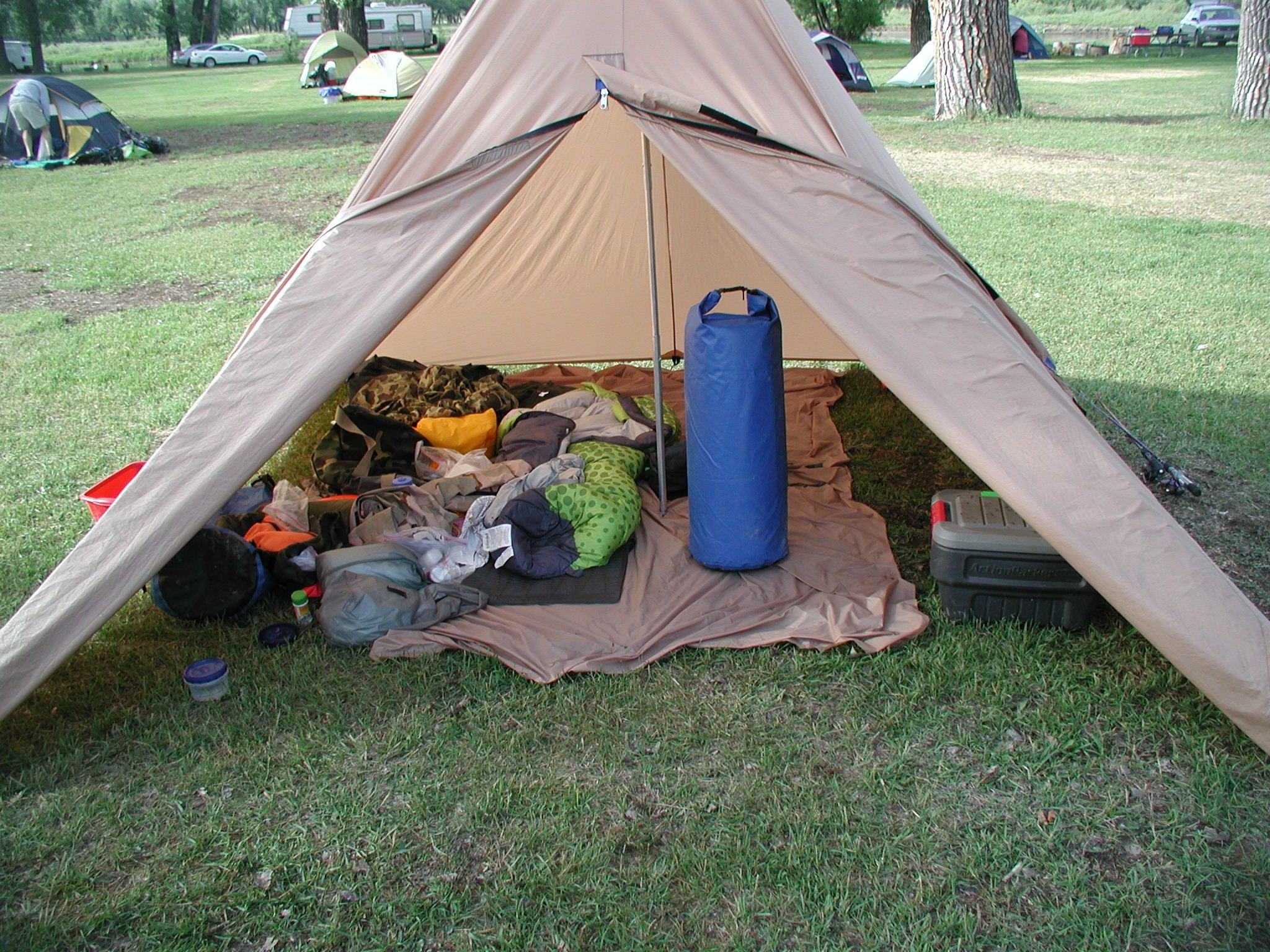 Which side of the tent belongs to the camper ready to go?