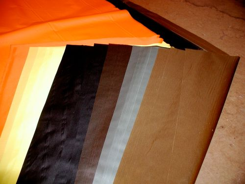 Fabric colors left to right, 70d hi-viz orange ,70d silicone coated yellow, 30d black,30d chocolate,30d foliage green, 30d coyote tan